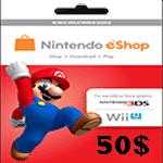 گیفت کارت 50 دلاری نینتندو