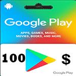 گیفت کارت 100 دلاری گوگل پلی امریکا