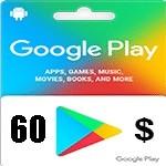 گيفت كارت 60 دلاری گوگل پلی آمريكا