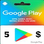 گيفت كارت 5 دلاری گوگل پلی آمريكا